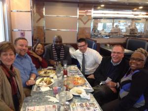 (L to R) Kay Nussbaum, Brian Albright, Denise Bell, Brian Leander, Daniel Gluck, Tom Klaus & Anita Gregory celebrating Daniel's successful dissertation defense at Minella's Diner in Wayne, PA in January 20, 2015.