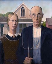 Real Iowans by Grant Wood (1930): Notice, not flannel, Eldon, Iowa